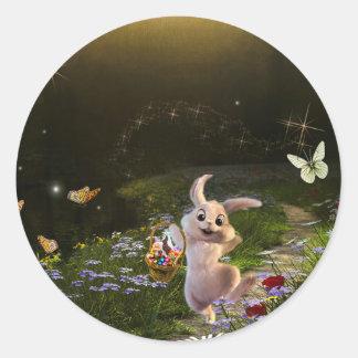 Magische Fantasie-Osterhasen-Szene Runder Aufkleber