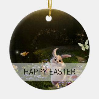 Magische Fantasie-Osterhasen-Szene Rundes Keramik Ornament