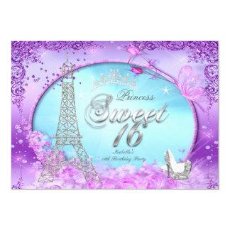 Magische lila aquamarines Blau Prinzessin-Sweet 16 12,7 X 17,8 Cm Einladungskarte