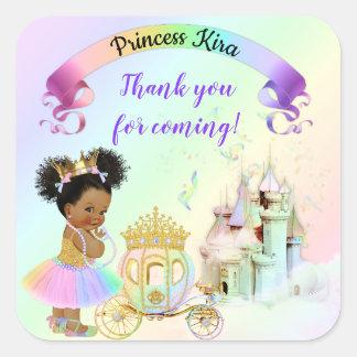 Magische Regenbogen-Prinzessin Castle Carriage Quadratischer Aufkleber