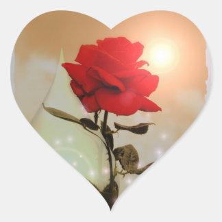 Magische Rote Rose und TeardropValentine Herz-Aufkleber