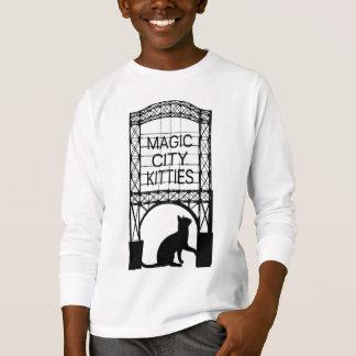 Magische Stadt-Kätzchen-Kinderlange Hülsen-T - T-Shirt