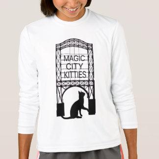 Magische Stadt-Kätzchen-Kinderlanger Hülsen-T - T-Shirt