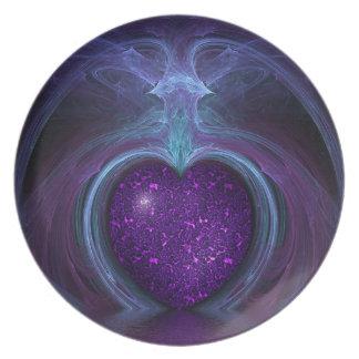 Magische u. mystische Fantasie-Flamme des Herzens Teller