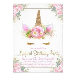 Magische Unicorn-Mädchen-Geburtstags-Party Karte