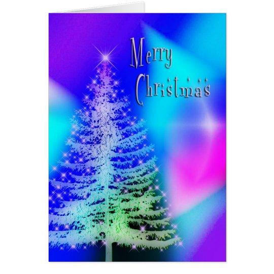 Magische Weihnachtskarte - Baum u. Lichter Karte