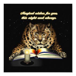 Magische Wünsche vom Leoparden Mage Quadratische 13,3 Cm Einladungskarte