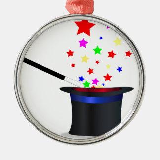 Magischer Hut und Stab Silbernes Ornament