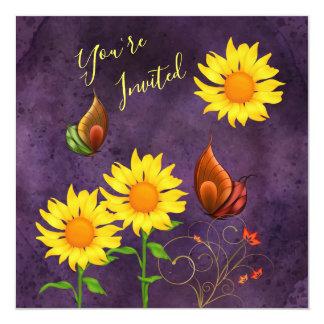 Magischer Sonnenblume-u. Schmetterlings-Geburtstag Karte