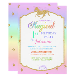 Magischer Unicorn-Regenbogen-u. Imitat-Glitter 12,7 X 17,8 Cm Einladungskarte