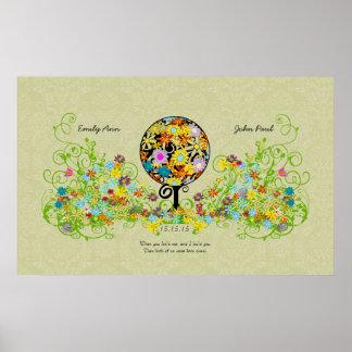 Magischer Waldkreis der Liebe-Blumen-Baum-Hochzeit Poster