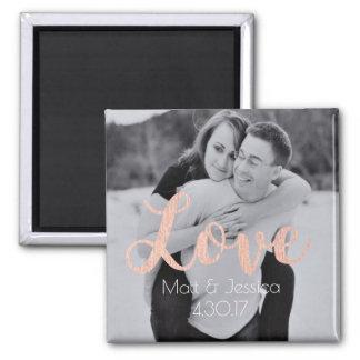 Magnet-Hochzeits-Bevorzugungs-Foto mit Rosen-Gold Quadratischer Magnet