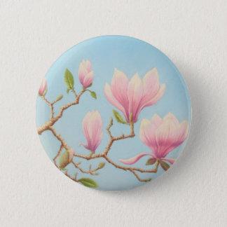 Magnolien in der Blüte, Wisley Gärten im Pastell Runder Button 5,1 Cm