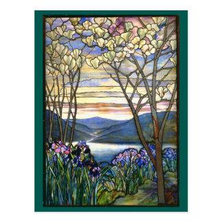 Magnolien-und Iris-Tiffany-Buntglas-Fenster Postkarte