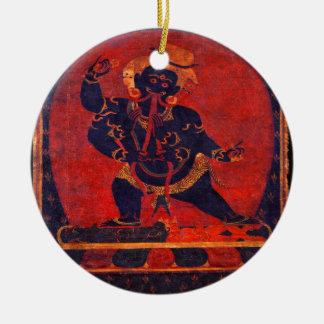Mahakala, 12. Jahrhundert Rundes Keramik Ornament