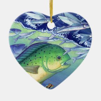 Mahi Mahi (Delphin-Fisch) fliegenden Fisch jagend Keramik Ornament