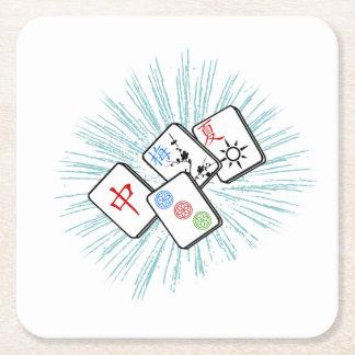 Mahjong deckt Blau mit Ziegeln Rechteckiger Pappuntersetzer