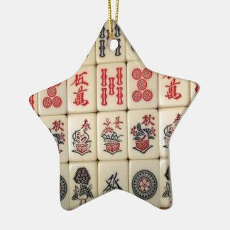 Mahjong Fliesen und Panda mit Monogramm Keramik Stern-Ornament