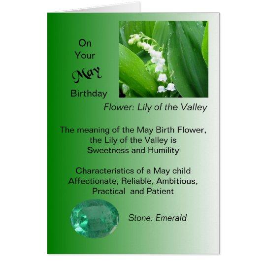 Mai-Geburtstags-Karte - Maiglöckchen und Smaragd Grußkarte