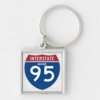 Maine ICH Schild der Autobahn-I-95 - Silberfarbener Quadratischer Schlüsselanhänger