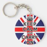 maintenez calme et continuez le drapeau d'Union Ja Porte-clef