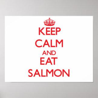 Maintenez calme et mangez le saumon posters