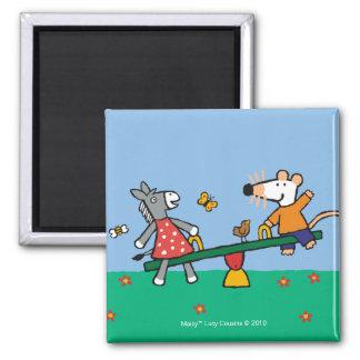 Maisy und Dotty ständiges Schwanken am Spielplatz Quadratischer Magnet