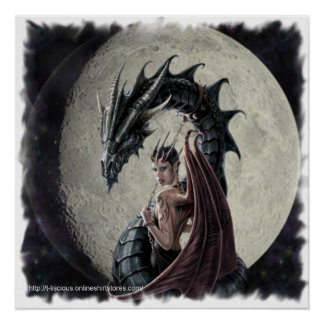 Maîtresse de dragon - toile imprimée poster