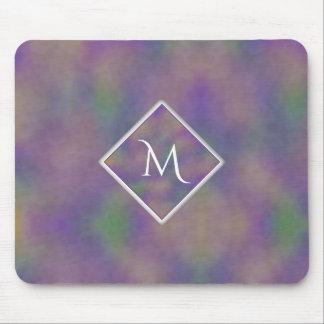 Majenta lila Goldinitiale geometrisch Mousepad