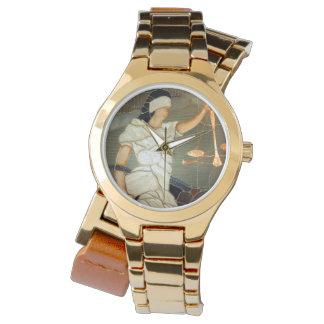 Majestätische Dame Justice Portrait im Buntglas Armbanduhr