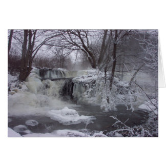 Majestätisches gefrorenes Wasserfall-Weihnachten Karte