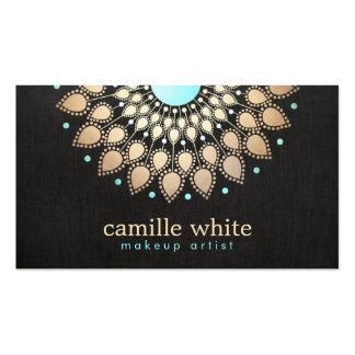 Make-upkünstler-elegantes Goldverziertes Visitenkarten Vorlage