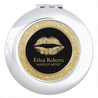 Make-upkünstler-GoldGlitter-Lippenmoderner Salon Taschenspiegel