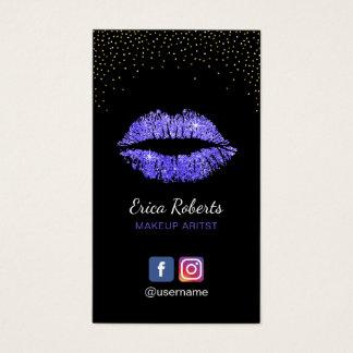 Make-upkünstler-lila Lippensalon-sozial-Medien Visitenkarte