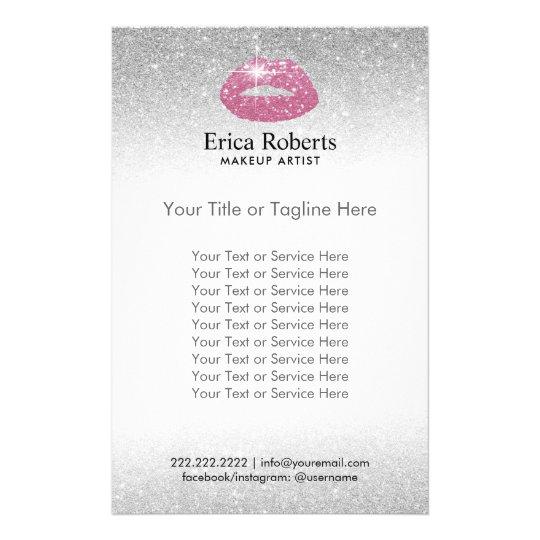 Make-upkünstler-Rosa-Lippensilberner Glitter-Salon Flyer