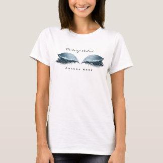 Make-upkünstler-Schönheits-Peitschen-Augen-blaue T-Shirt