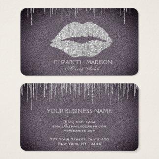 Make-upkünstler-Silber-Glitter-Lippen mit Lila Visitenkarte