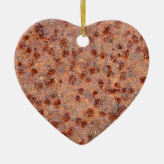 MakroFoto eines rostigen Eisenblattes Keramik Herz-Ornament