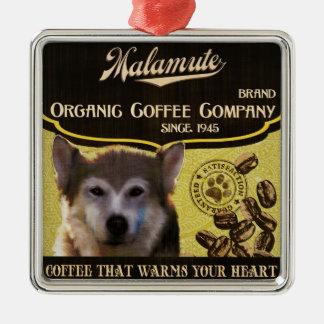 Malamute-Marke - Organic Coffee Company Quadratisches Silberfarbenes Ornament