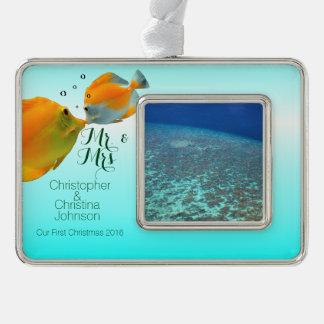 Malediven-Riff-Fische des süßen Paares erste Rahmen-Ornament Silber