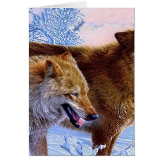 Malen mit zwei roten Wölfen Karte