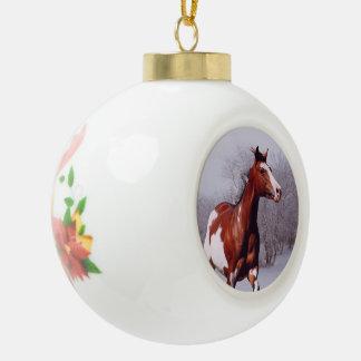 Malen Sie Pferd in der Schnee Ball-Verzierung Keramik Kugel-Ornament