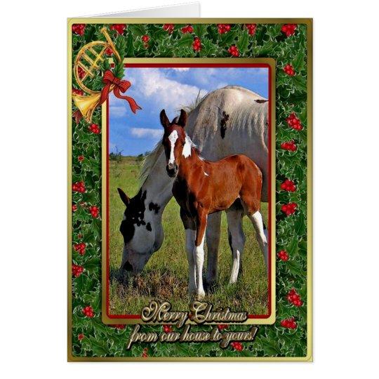 Malen Sie Pferdestute und fohlen Sie leere Karte