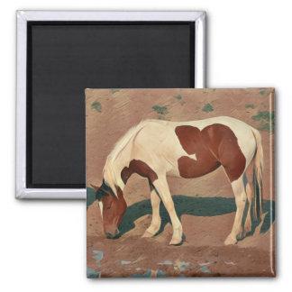 Malen Sie Pony Quadratischer Magnet