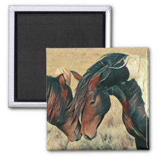 Malen Sie Ponys Quadratischer Magnet