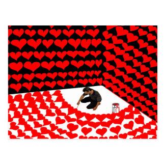 Malen Sie Selbst in Ecke mit roten Herzen für Postkarte