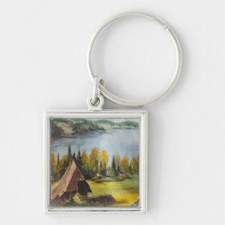 Malerei-Chalet SchlüsselketteAnn Hayes auf dem See Schlüsselanhänger