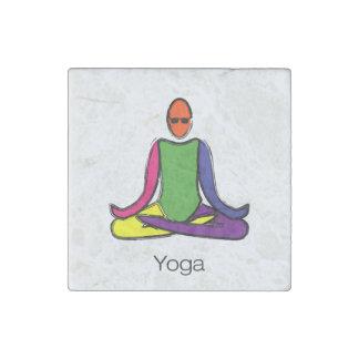 Malerei der Lotosyoga-Pose mit Yogatext Steinmagnet
