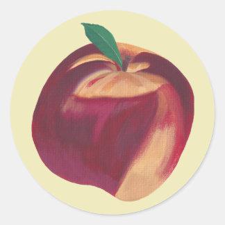 Malerei des ganzen reifen Pfirsiches, Runder Aufkleber