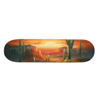 Malerei einer bunten Wüsten-Sonnenuntergang-Malere Bedruckte Skateboarddecks